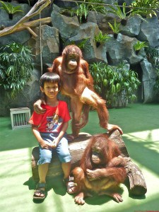Jim was taking a picture with a couple orangutan.