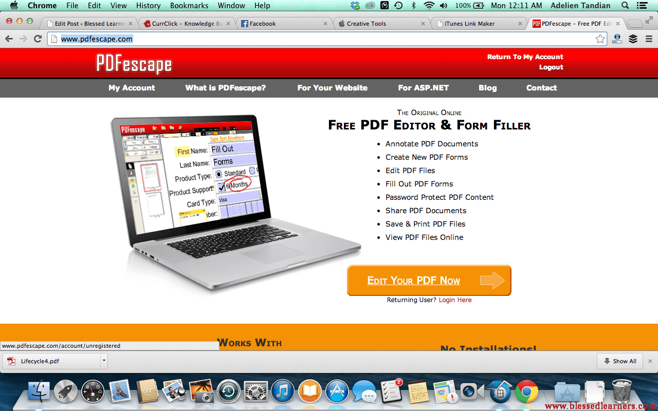 Go To Pdfescape And Click On Edit Your Pdf Now Blessed Learners