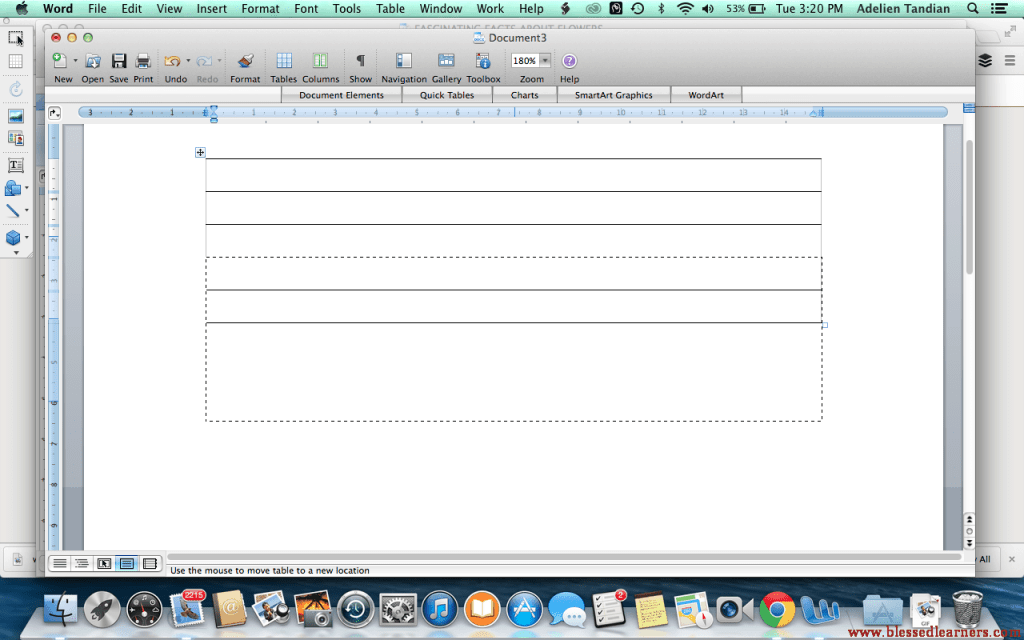 Drag the table or the lines down to give some space to the title of the notebooking page.