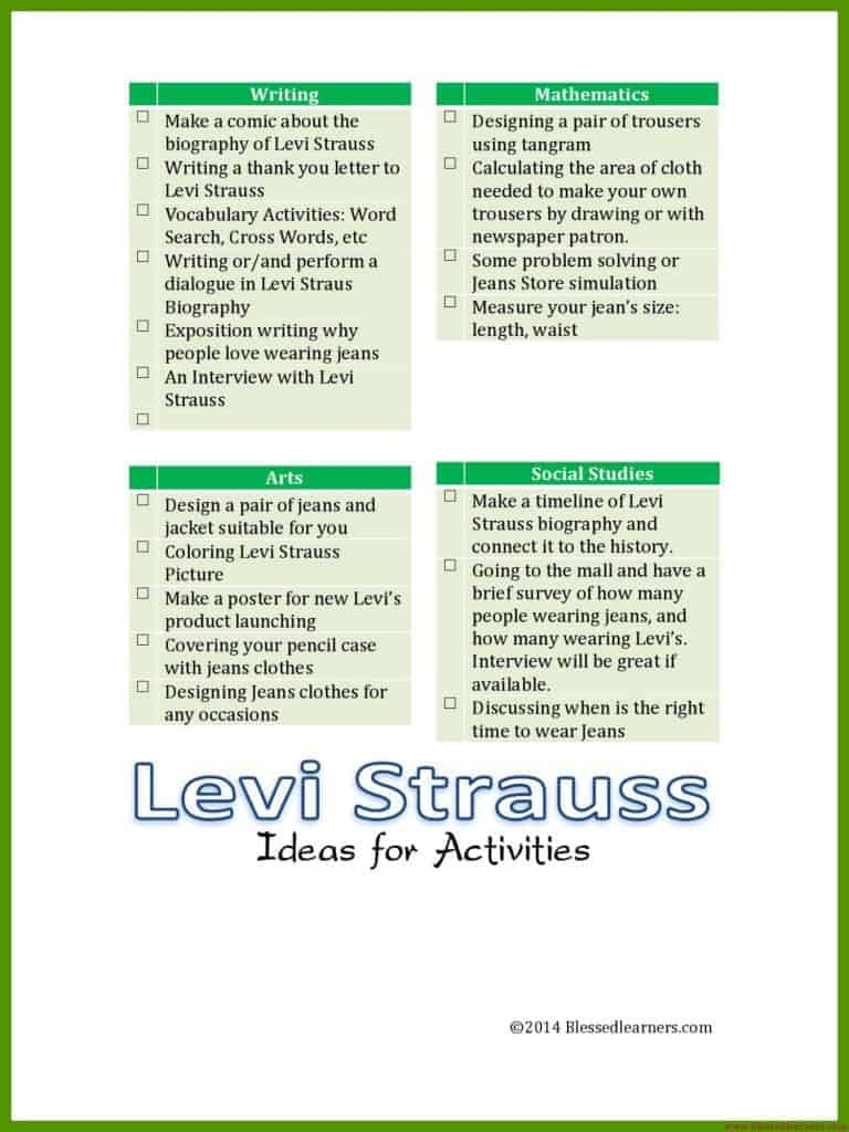 Levi Strauss Ideas for Activities