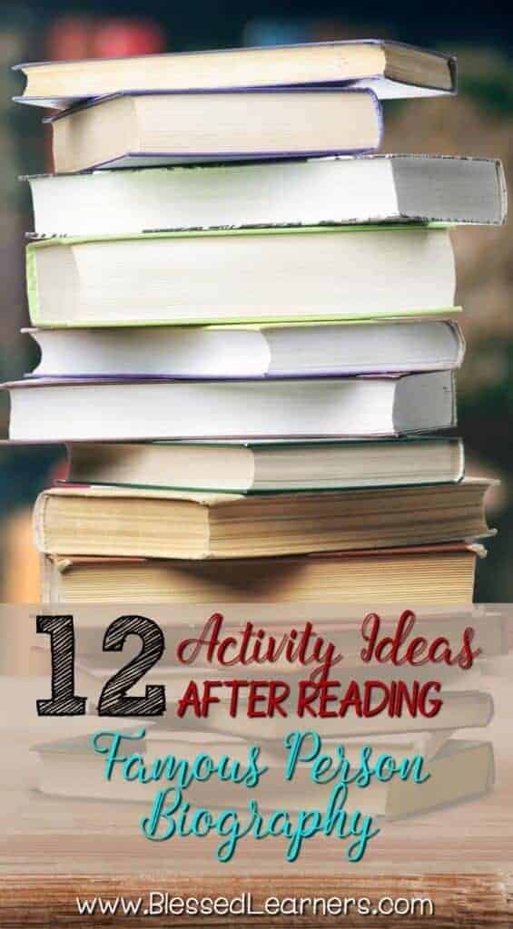 Reading about someone else's life story is always fascinating activities for my kids. Don't miss 12 Activities after Reading Famous Person biography.
