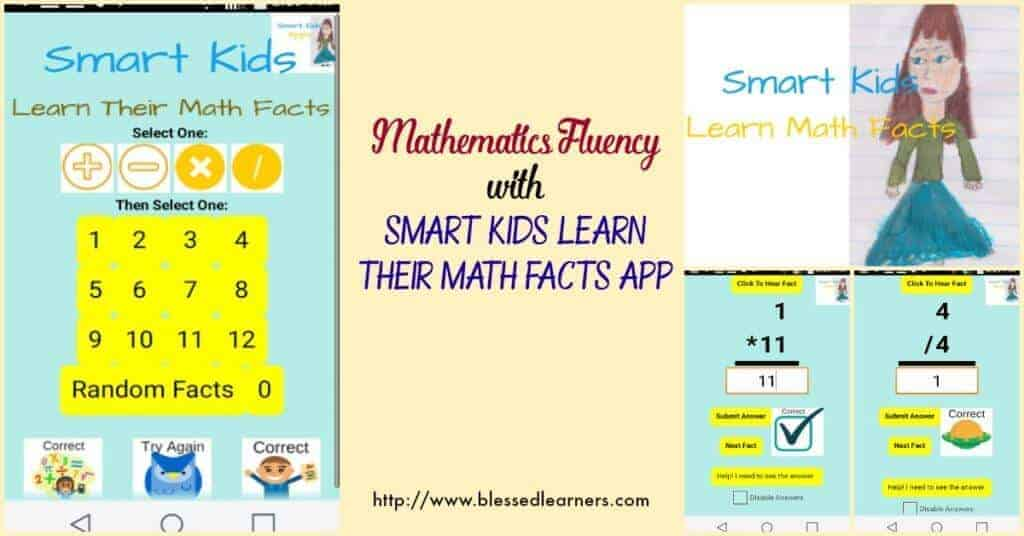 Smart Kids Learn their Math Facts is a great Android App to help children build mathematics fluency in number facts.