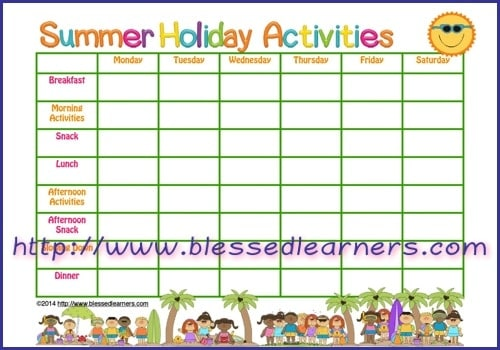 Get Free Summer Holiday Planner Blessed Learners