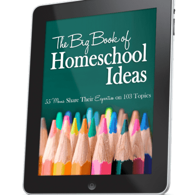 The Big Book of Homeschool Ideas from 55 Moms about 103 topics, in 560 pages