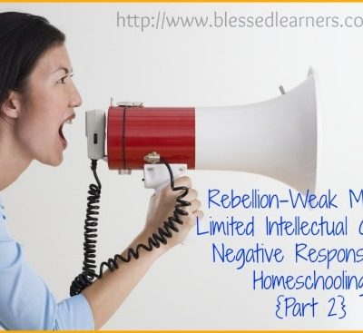 Rebellion-Weak Mental-Limited Intellectual Growth: Negative Responses to Homeschooling {Part 2}