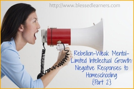Rebellion-Weak Mental-Limited Intellectual Growth Negative Responses to Homeschooling {Part 2}