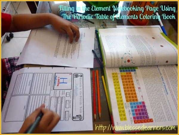 Doing The Element Notebooking Activity with The Periodic Table of Elements Coloring Book