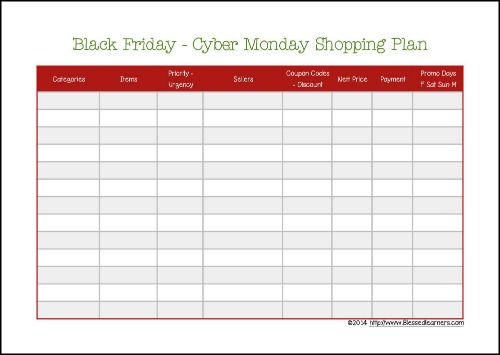 Black Friday - Cyber Monday Shopping Plan