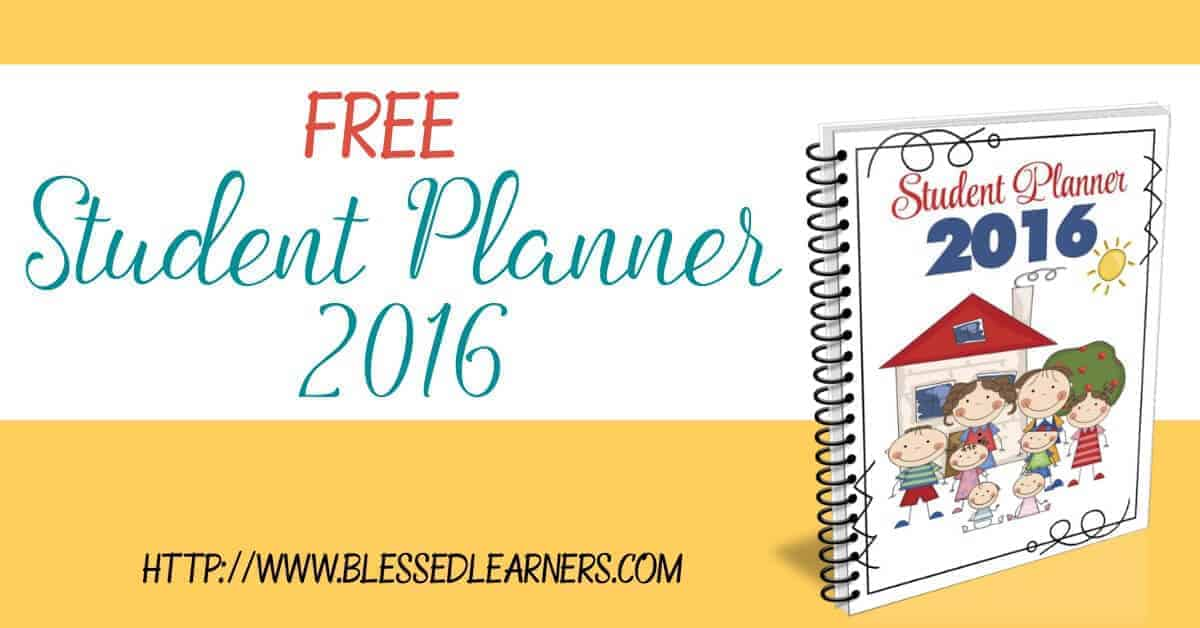 FREEBIES - Student Planner 2016. Help your children to plan and to organize their days with the student planner.