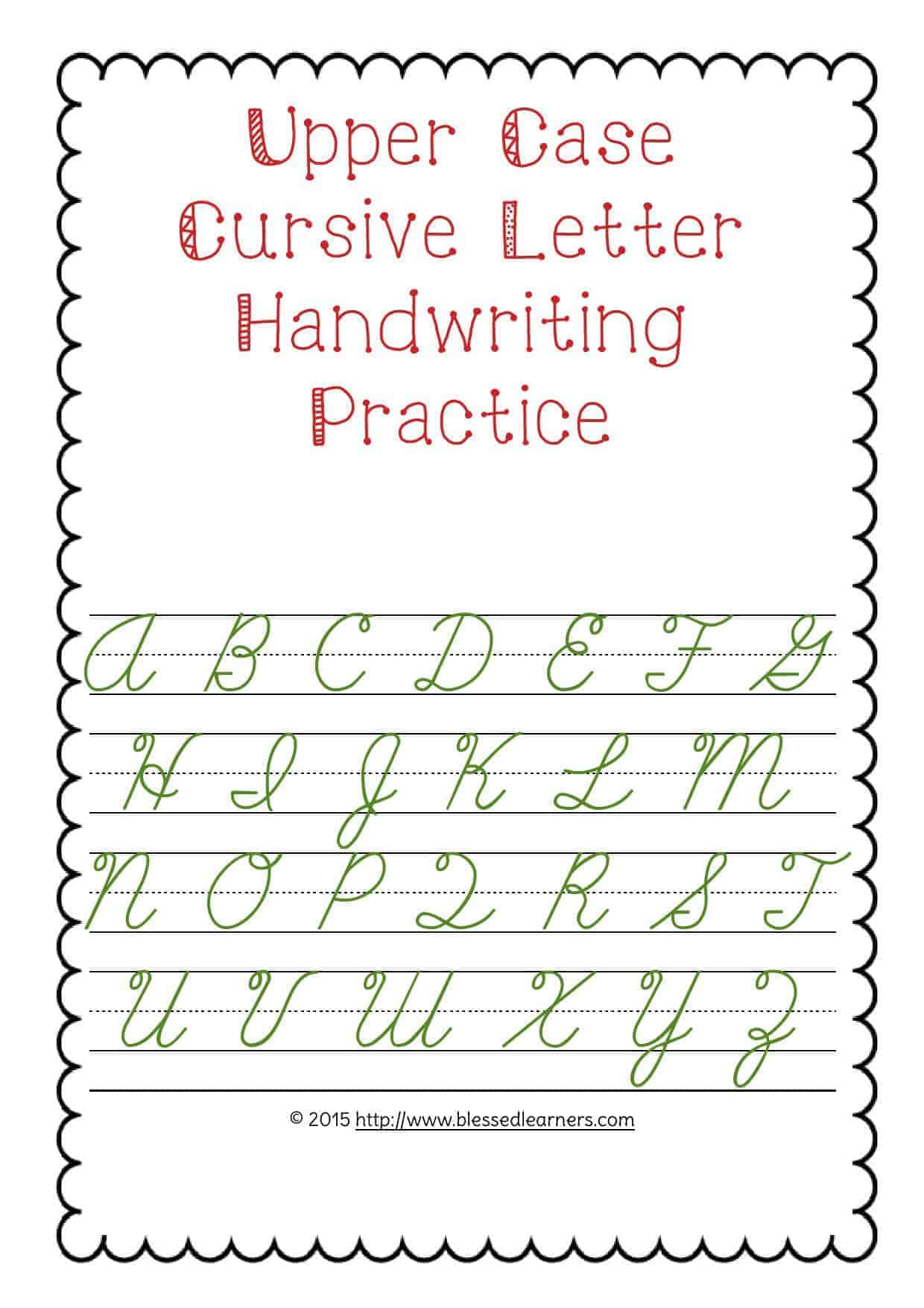 upper case letter handwriting practice blessed learners