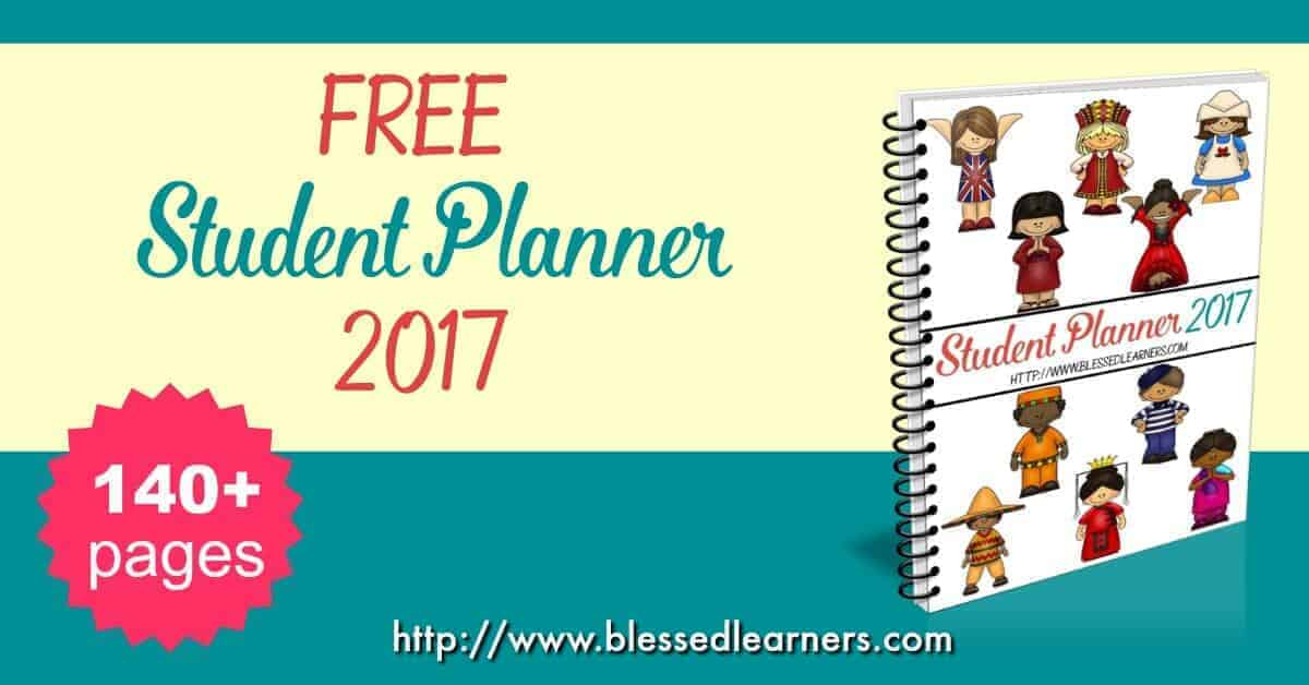FREEBIES - Student Planner 2017. Help your children to plan and to organize their days with the student planner.