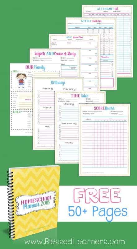 Free Homeschool Planner 2018 Blessed Learners