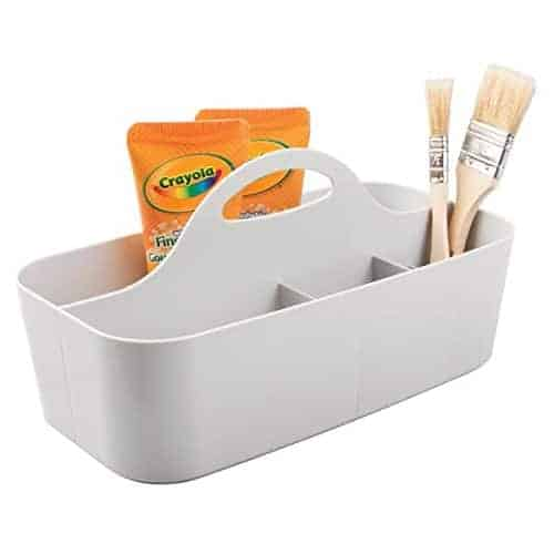 mDesign Art Supplies, Crafts, Crayons and Sewing Organizer Tote - Small, Light Gray