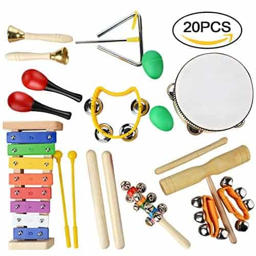 Percussion Set,YUIOP 20 Pcs Kids Musical Instruments Toy Rhythm Band Set Drum With Bag Preschool Educational Tools for Toddler Baby Toys Tambourine Set Perfect Percussion Starter Kit