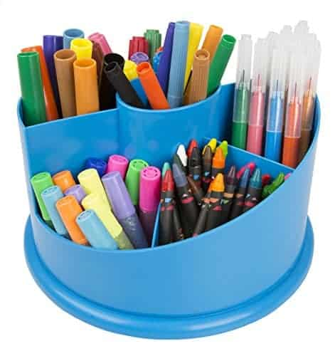Desktop Art Carousel – 101 Piece Set Includes Colored Pencils, Crayons, Watercolors, Kid Safe Scissors, Glitter Glue, Stamps, Markers, Eraser, and Organizer! – For Ages 4 and Up