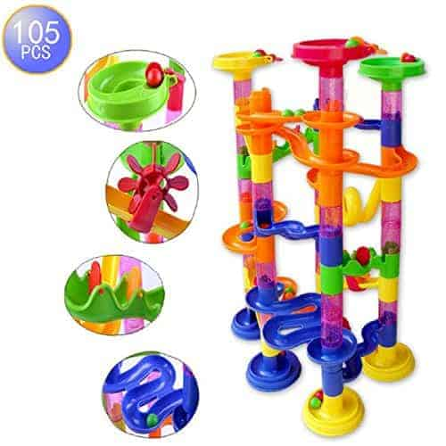 Megadream 105 pcs Kids Building Blocks Construction Toy - 75 Building Blocks 30 Plastic Race Marbles, DIY Constructing Maze Toy for Family Kids Chrismas GIft