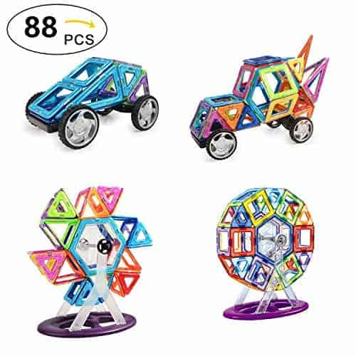 88 Piece Set Magnetic Blocks - Tiles Block Toy Kit for Kids Education Learning - Creativity Building Magnetic Tiles & Blocks - Ferris Wheel & Vehicle Set – Safe & Durable Building Toys