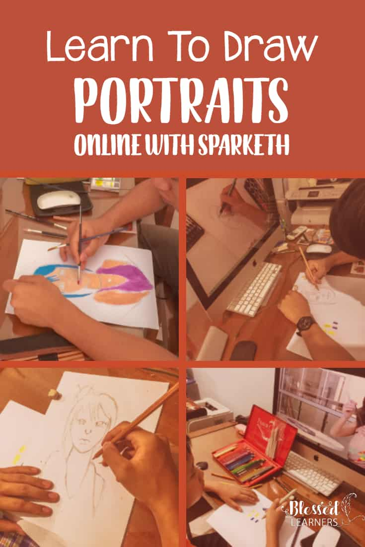 Drawing portraits online with Sparketh makes the most difficult lessons in the arts easier. On this modern day, my children are much luckier than I was. They have Sparket that help them with the portraits drawing I felt so horrible before. #homeschool #DrawingLessons