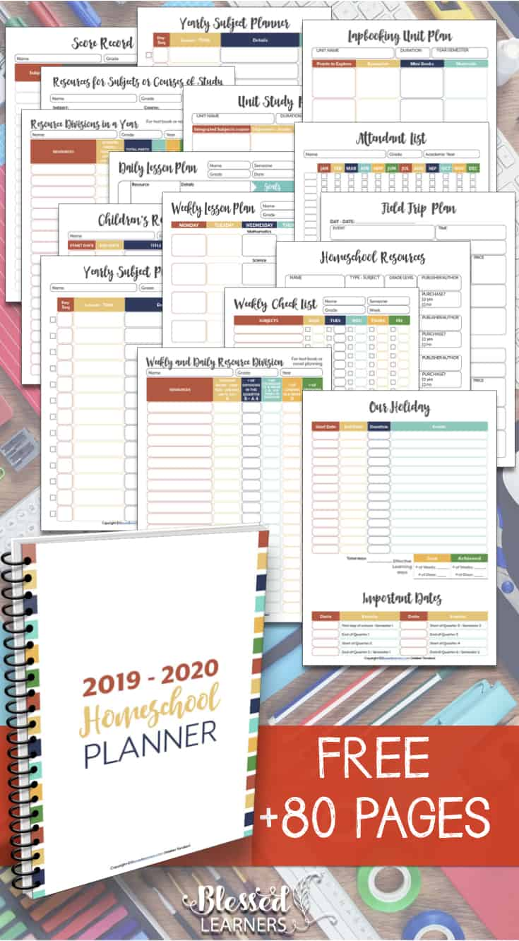 image about Printable Homeschool Planners called No cost Homeschool Planner 2019 - 2020 - Lucky Students