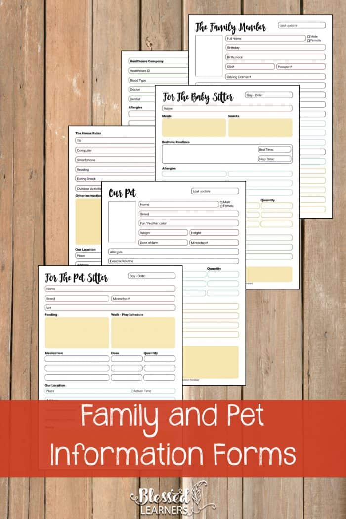 The UltimateLife Planner Organizer for Momsis the perfect solution to getting most aspects of your home-and-work life well organized. A total of230+printable pagesyou can customize to use are included in the digital file. | Family and Pet Information Forms | #Planner #Printable #TimeManagement #Organizer