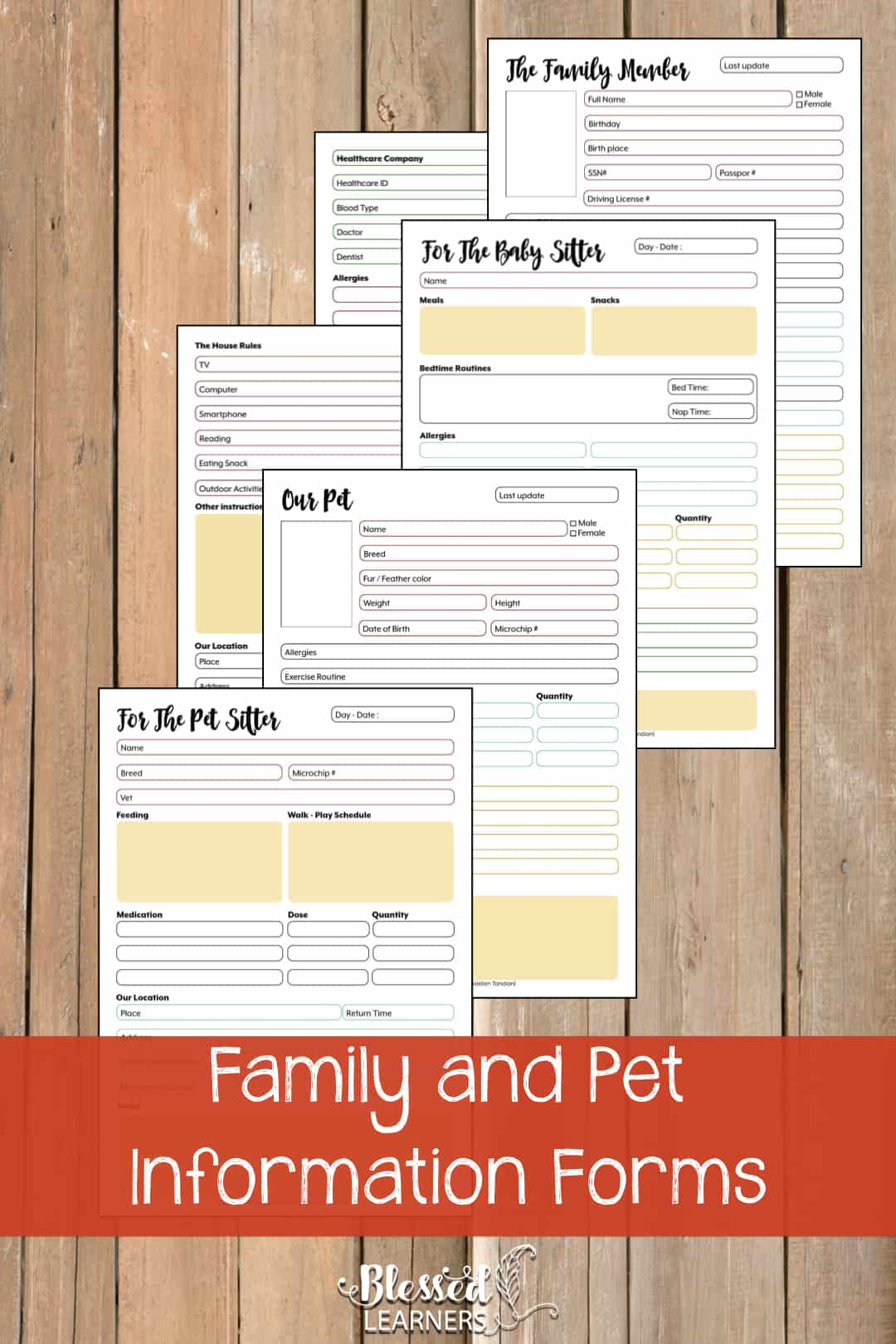 The Ultimate Life Planner Organizer for Moms is the perfect solution to getting most aspects of your home-and-work life well organized. A total of 230+ printable pages you can customize to use are included in the digital file. | Family and Pet Information Forms | #Planner #Printable #TimeManagement #Organizer