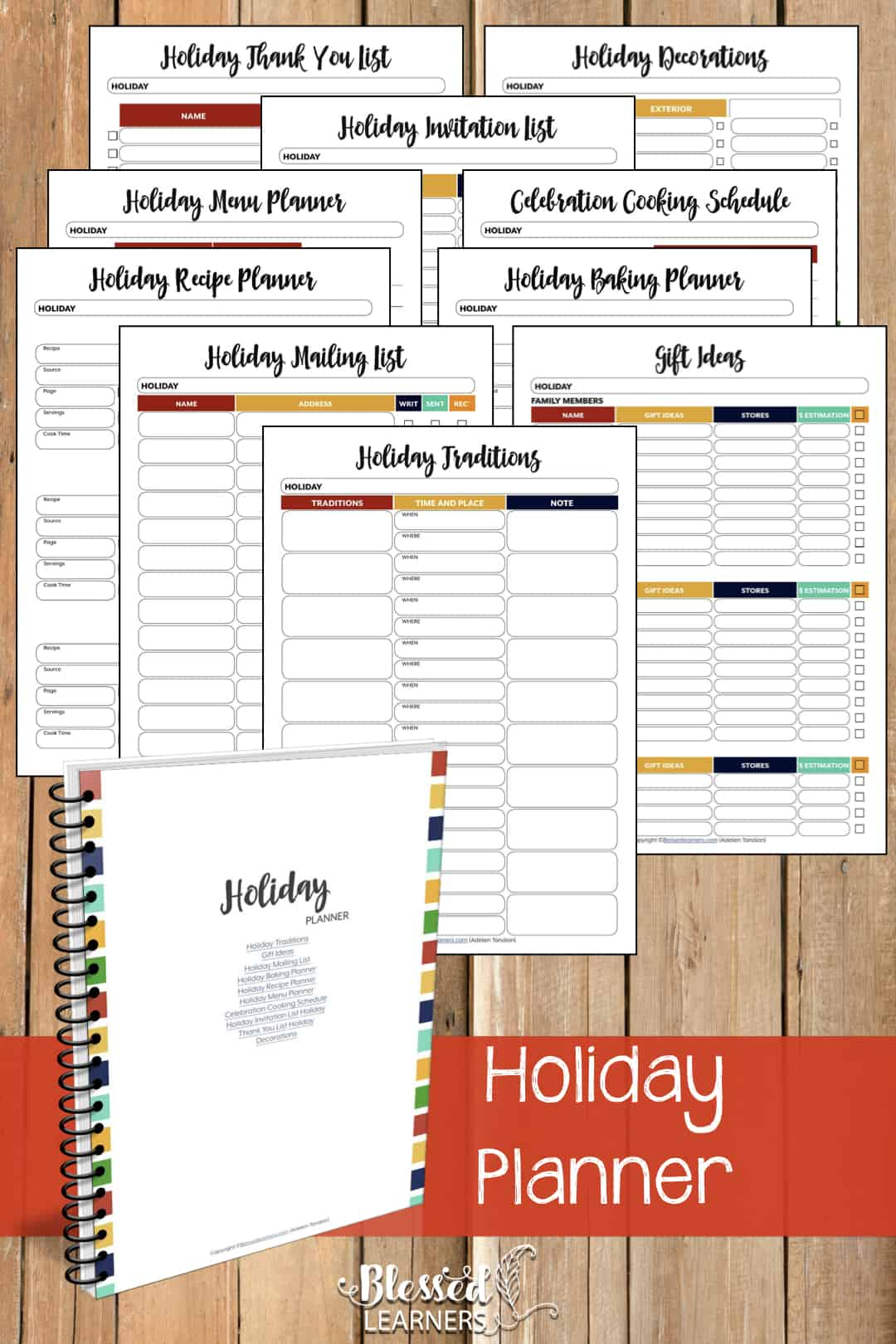 The Ultimate Life Planner Organizer for Moms is the perfect solution to getting most aspects of your home-and-work life well organized. A total of 230+ printable pages you can customize to use are included in the digital file. | Holiday Planner | #Planner #Printable #TimeManagement #Organizer
