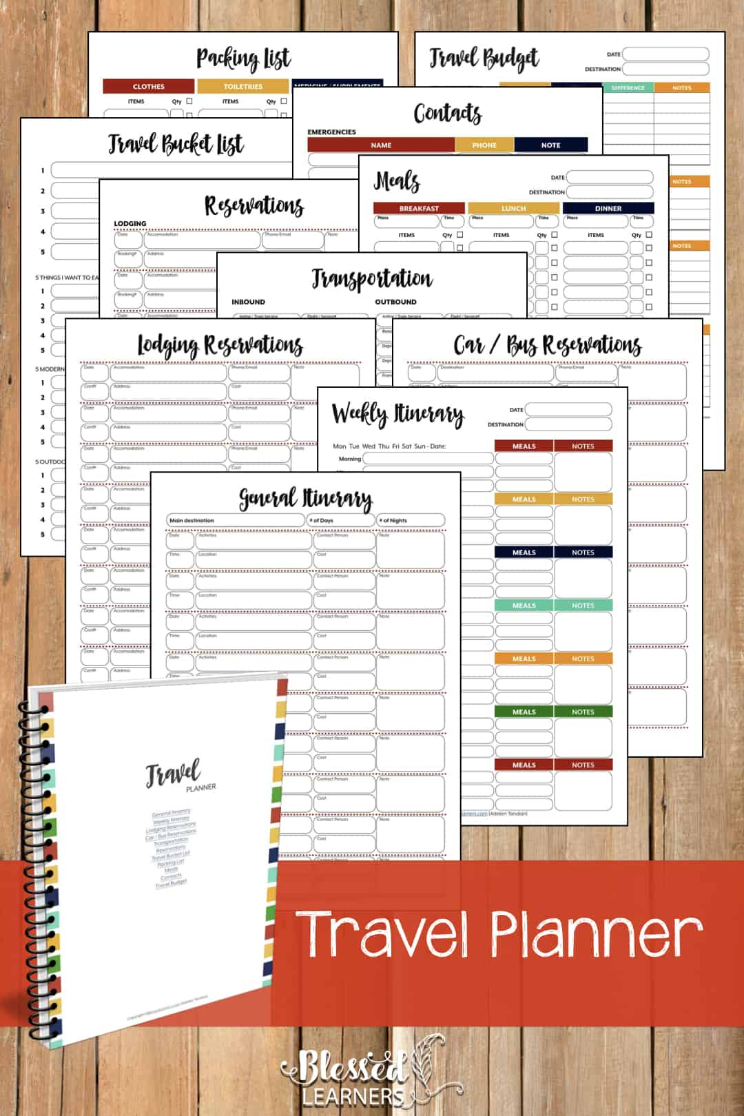 The Ultimate Life Planner Organizer for Moms is the perfect solution to getting most aspects of your home-and-work life well organized. A total of 230+ printable pages you can customize to use are included in the digital file. | Travel Planner | #Planner #Printable #TimeManagement #Organizer