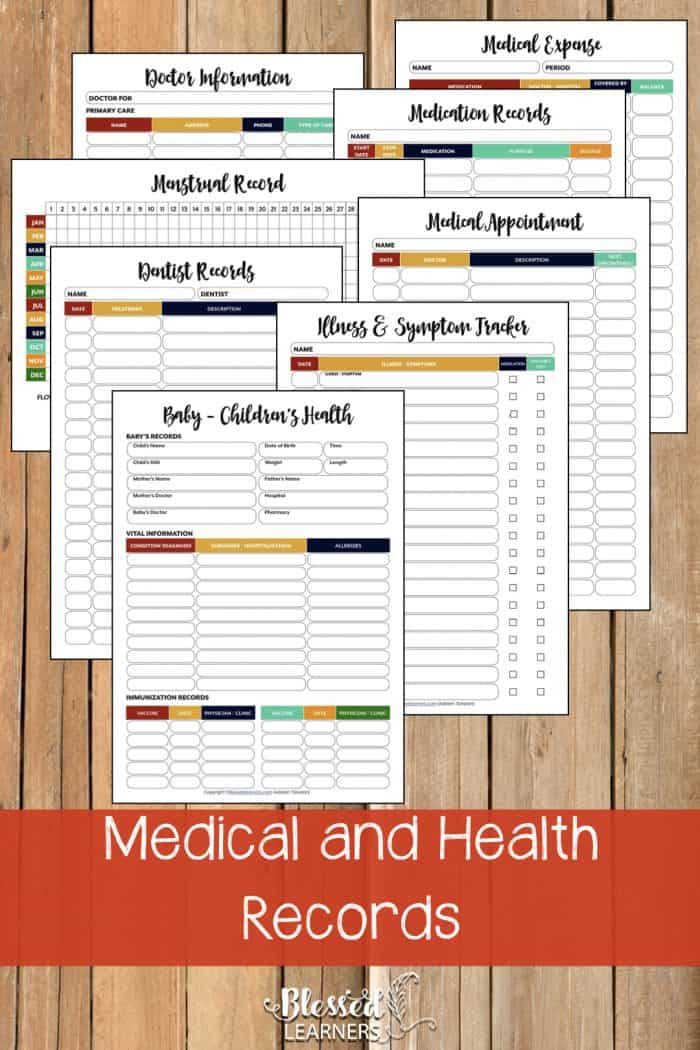 The Ultimate Life Planner Organizer for Moms is the perfect solution to getting most aspects of your home-and-work life well organized. A total of 230+ printable pages you can customize to use are included in the digital file. | Medical and Health Records | #Planner #Printable #TimeManagement #Organizer