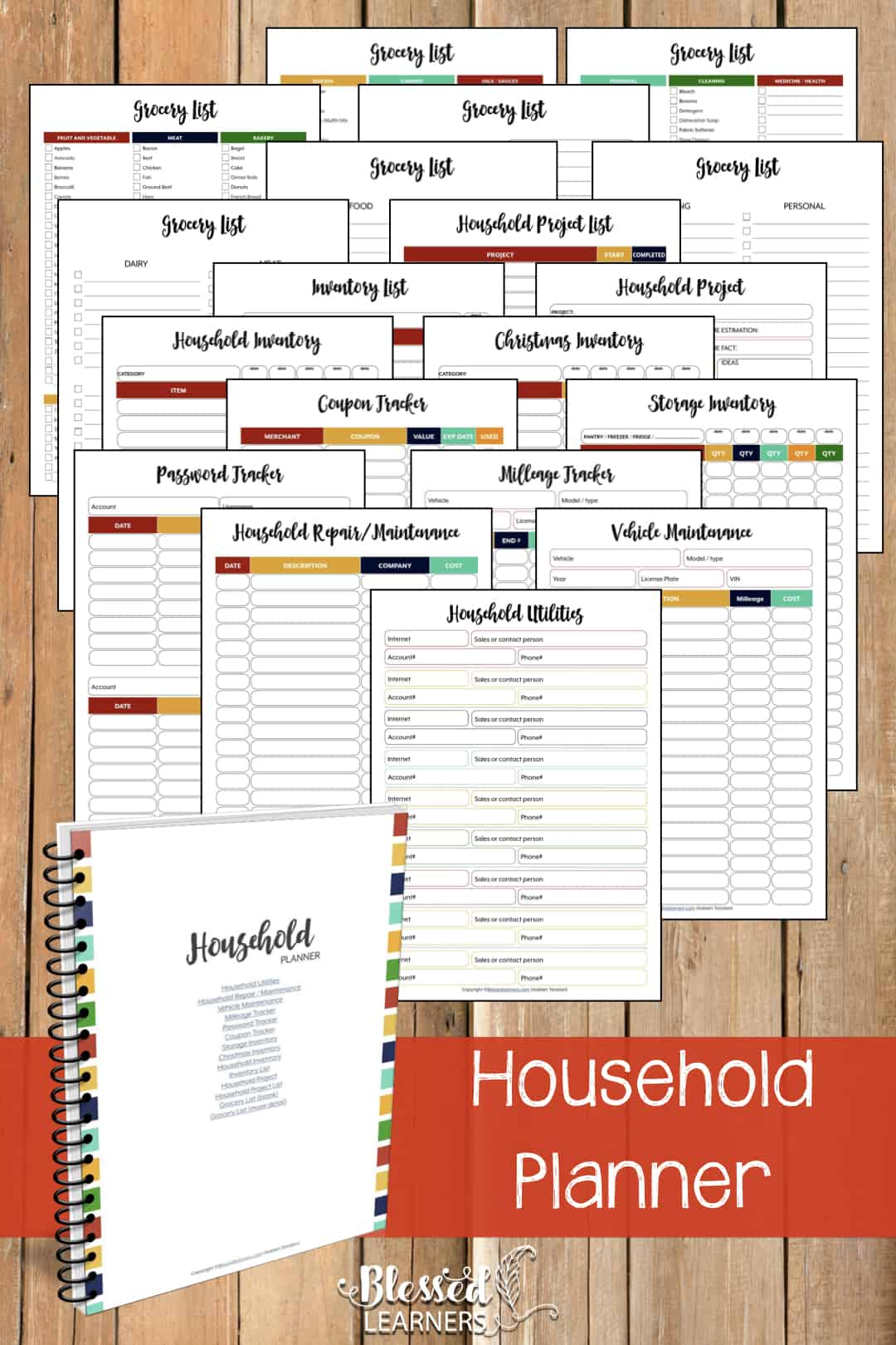The Ultimate Life Planner Organizer for Moms is the perfect solution to getting most aspects of your home-and-work life well organized. A total of 230+ printable pages you can customize to use are included in the digital file. | Household Planner | #Planner #Printable #TimeManagement #Organizer