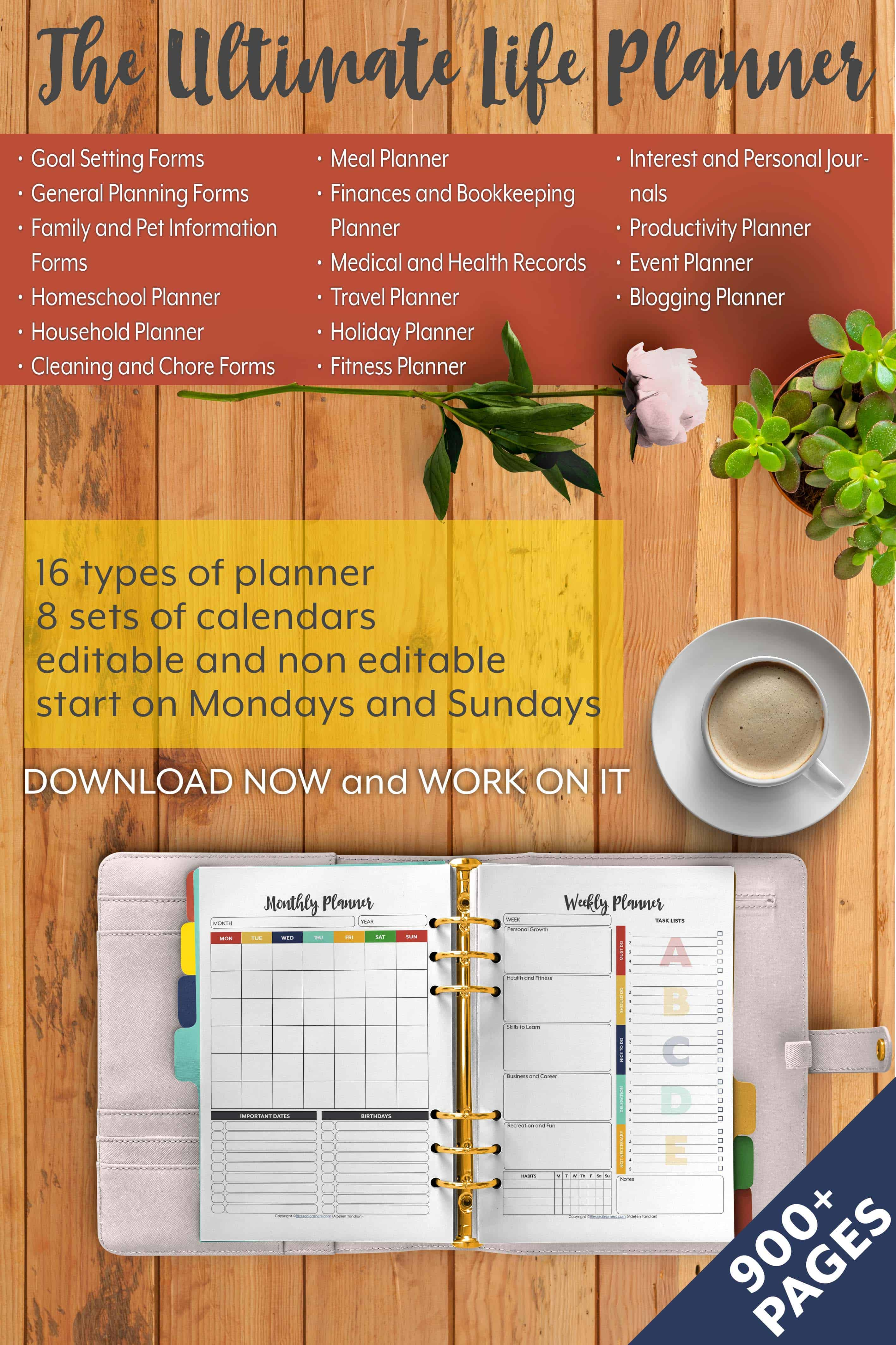 The Ultimate Life Planner Organizer for Moms is the perfect solution to getting most aspects of your home-and-work life well organized. A total of 450+ printable Calendar pages you can customize to use are included in the digital file. #Planner #Printable #TimeManagement #Organizer