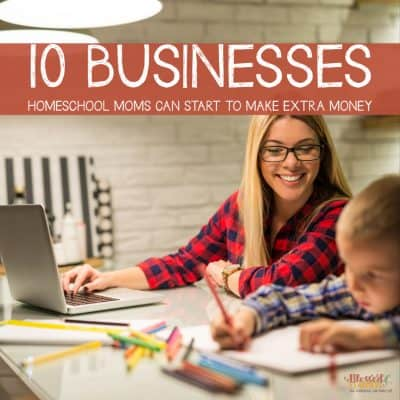 Think some ideas for homeschool mom home business you can run while doing housework and homeschooling children?  Today I wanted to share a list of businesses homeschool moms can start to make extra money.