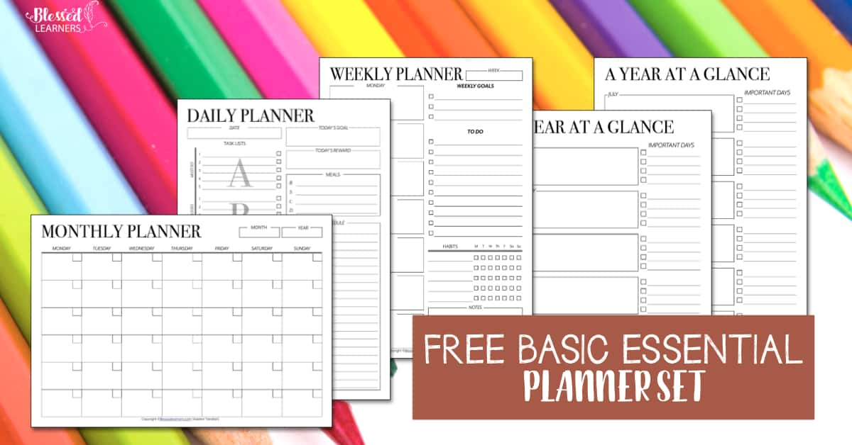 image relating to Free Printable Planners named Cost-free Fixed of Printable Undated Planners - Fortunate Pupils