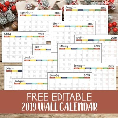 Happy New Year 2019! You might have got the 2019 calendar with you in either electronic and paper form. Today I would like to share a customized calendar that you can edit and use as a wall calendar. This editable 2019 wall calendar will be able to help you and family to notice some events, deadlines, chores, etc. #Timemanagement #Productivity #Printable #2019Calendar