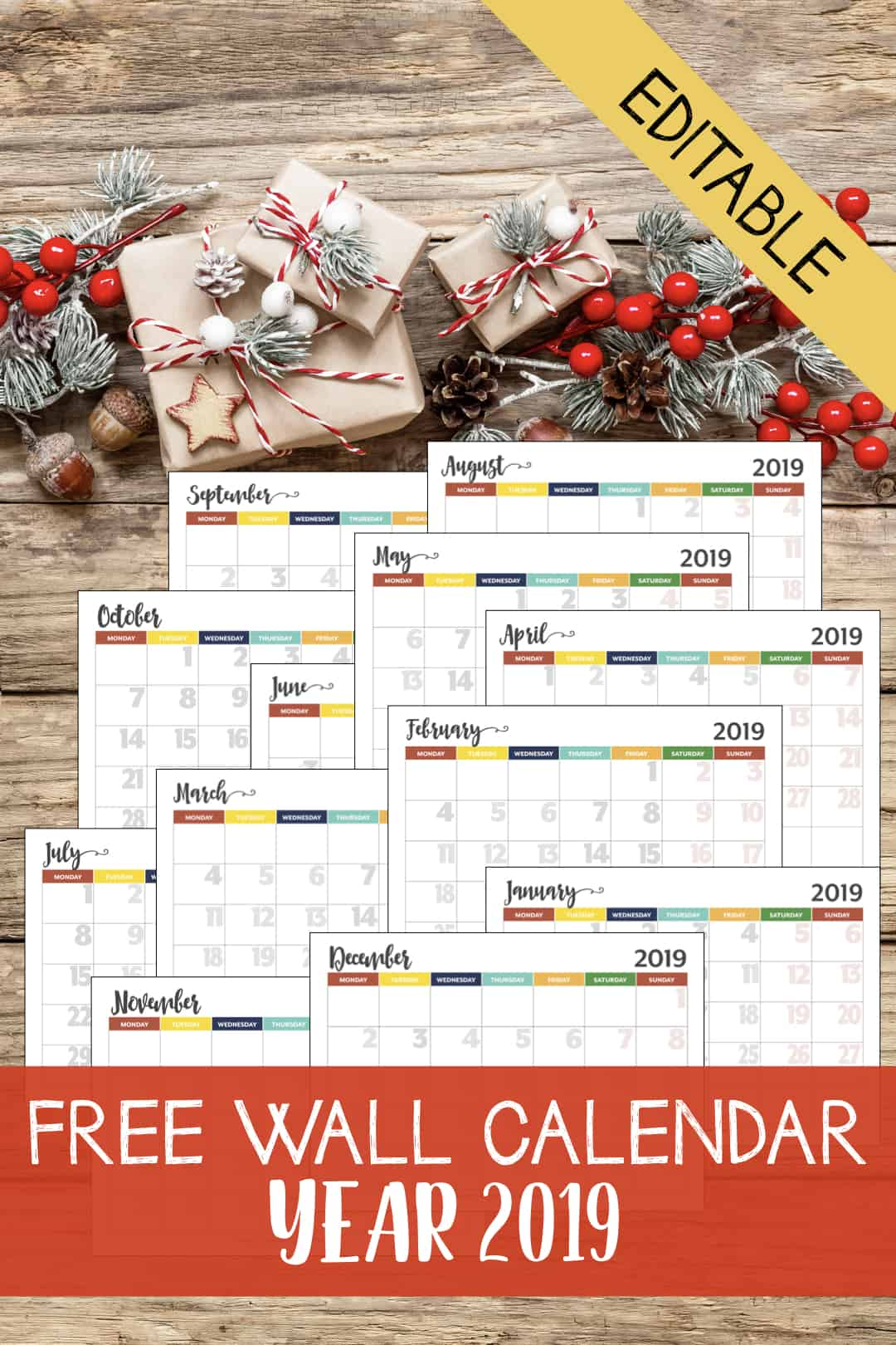 Happy New Year 2019! You might have got the 2019 calendar with you in either electronic and paper form. Today I would like to share a customized calendar that you can edit and use as a wall calendar. This editable 2019 wall calendar will be able to help you and family to notice some events, deadlines, chores, etc.