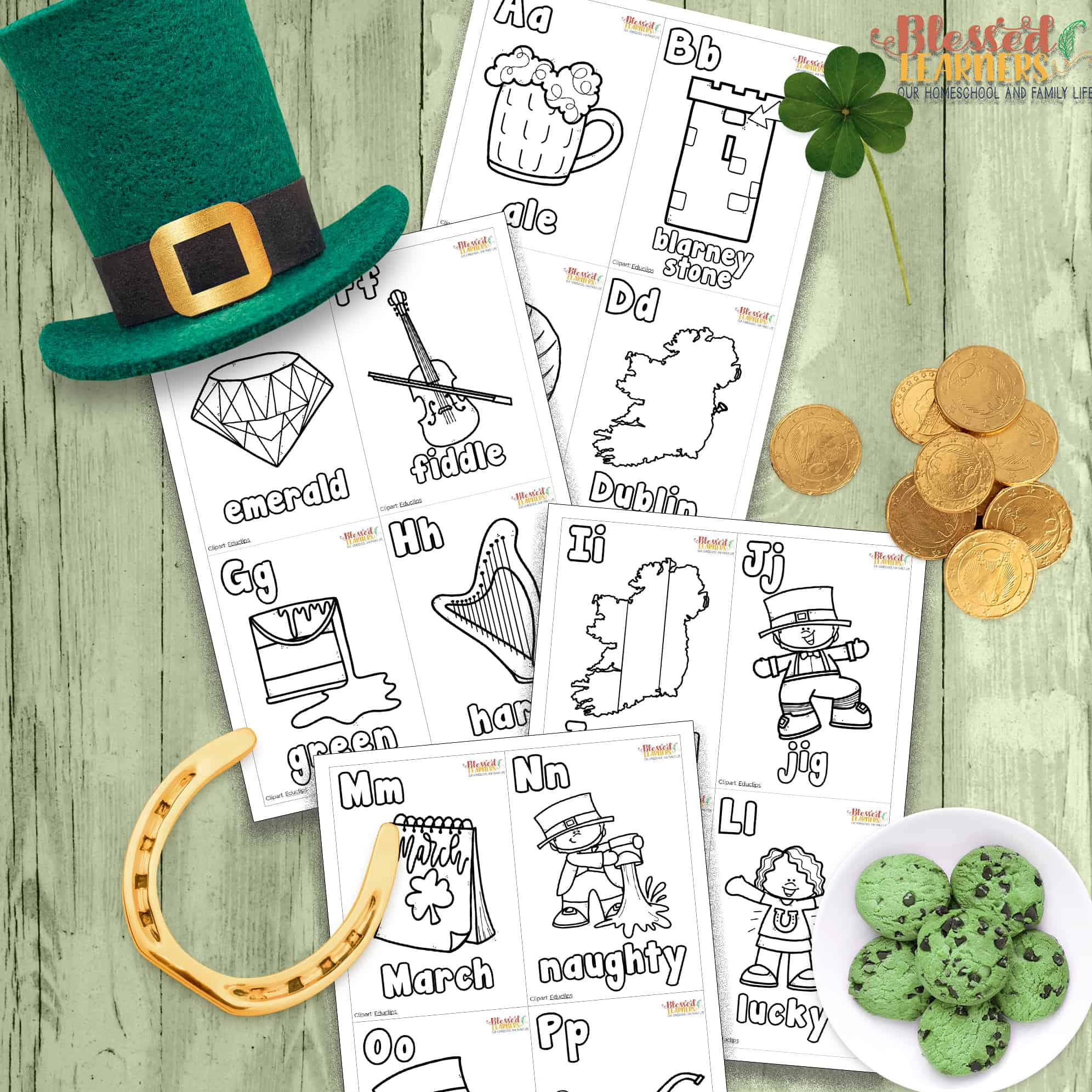 photo about Free Printable Clipart for St Patrick's Day known as Free of charge St. Patricks Working day Alphabet Flashcards - Lucky College students