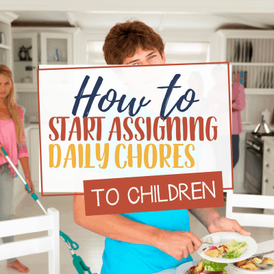 Here are some tips on How to Start Assigning Daily Chores to Children when they are not very young anymore. You can also download A FREE Planner to Start assigning Daily Chores to children