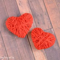 Yarn Wrapped Hearts Craft – Valentines Day Crafts